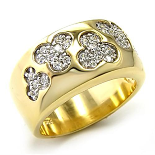 7X205 - Gold+Rhodium 925 Sterling Silver Ring with AAA Grade CZ  in Clear
