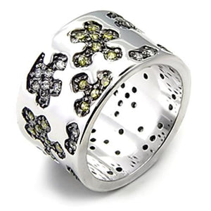 7X229 - Rhodium + Ruthenium 925 Sterling Silver Ring with AAA Grade CZ  in Olivine color