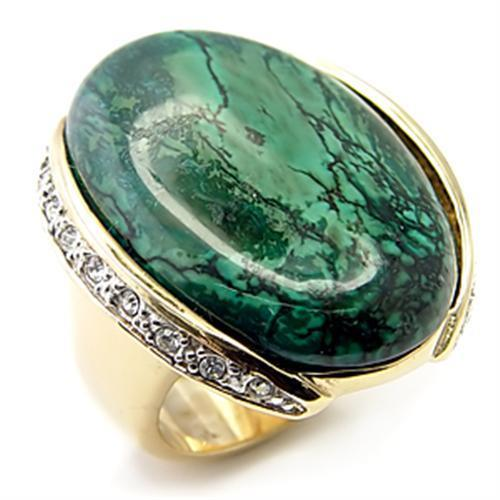 7X235 Gold+Rhodium 925 Sterling Silver Ring with Semi-Precious in Sea Blue