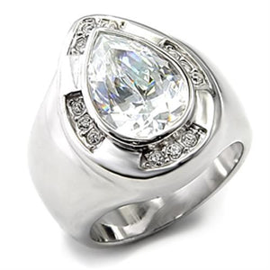 7X236 - Rhodium 925 Sterling Silver Ring with AAA Grade CZ  in Clear