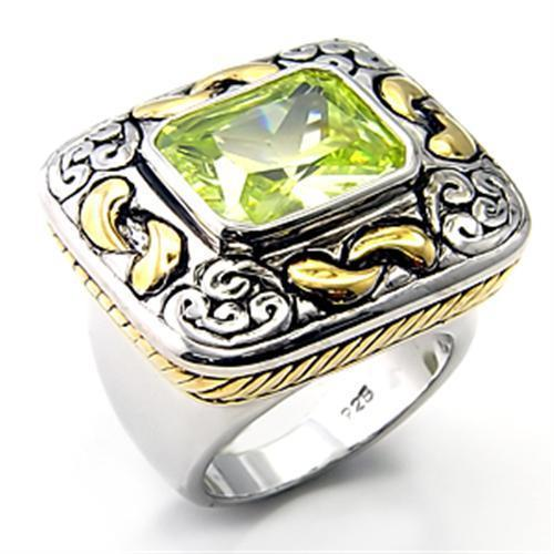 7X244 - Reverse Two-Tone 925 Sterling Silver Ring with AAA Grade CZ  in Apple Green color