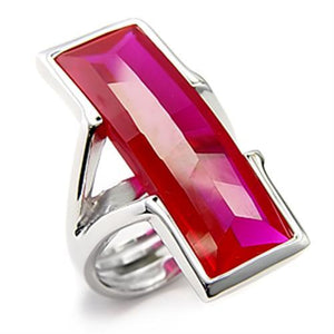 7X248 - Rhodium 925 Sterling Silver Ring with Synthetic Garnet in Ruby