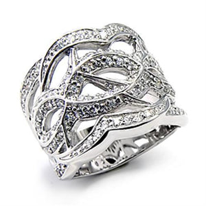 7X268 - High-Polished 925 Sterling Silver Ring with AAA Grade CZ  in Clear