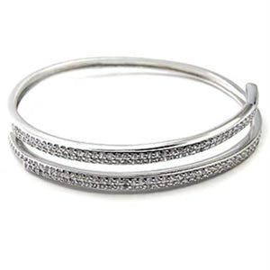 7X352 Rhodium Brass Bangle with AAA Grade CZ in Clear