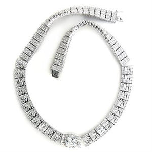 7X410 - Rhodium Brass Necklace with AAA Grade CZ  in Clear