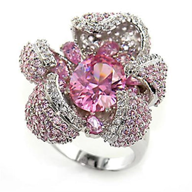 80316 - Rhodium Brass Ring with AAA Grade CZ  in Rose