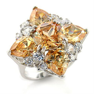 80605 - Rhodium Brass Ring with AAA Grade CZ  in Champagne