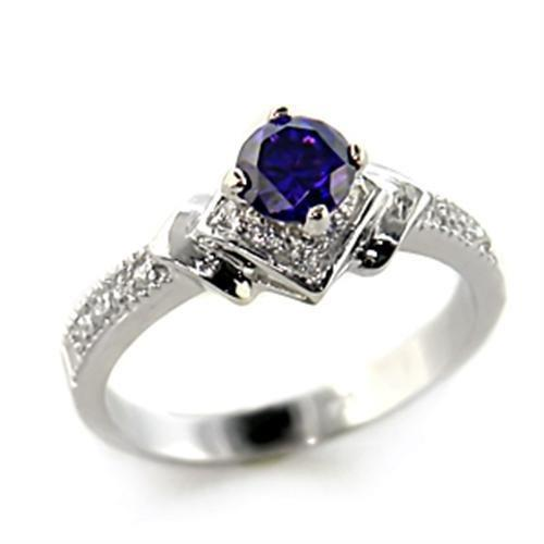 8X006 - Rhodium 925 Sterling Silver Ring with AAA Grade CZ  in Tanzanite