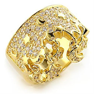8X014 - Gold 925 Sterling Silver Ring with AAA Grade CZ  in Clear