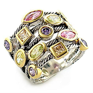 8X049 - Reverse Two-Tone Brass Ring with AAA Grade CZ  in Multi Color