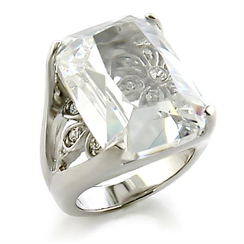 8X153 - Rhodium Brass Ring with AAA Grade CZ  in Clear