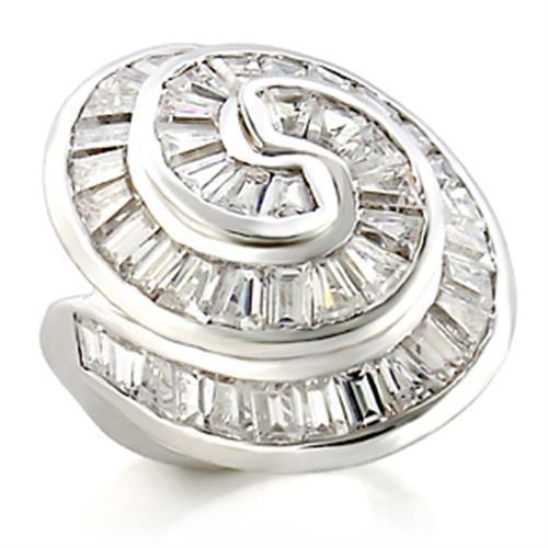 9W019 - Rhodium Brass Ring with AAA Grade CZ  in Clear