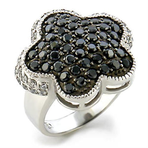 9W099 - Rhodium + Ruthenium Brass Ring with AAA Grade CZ  in Jet