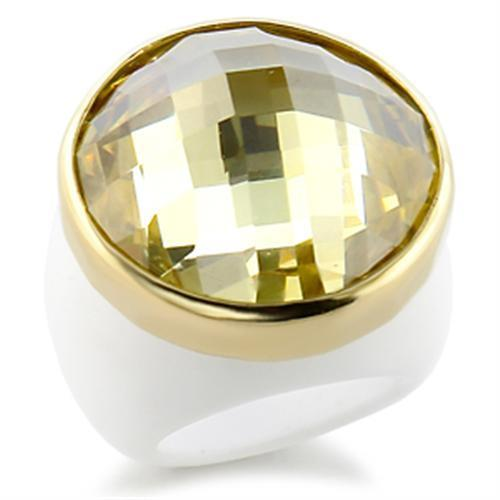 9W193 - Gold Brass Ring with AAA Grade CZ  in Citrine Yellow