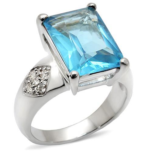 9X012 - Rhodium Brass Ring with Synthetic Synthetic Glass in Sea Blue