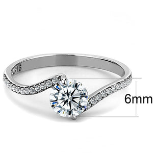 DA006 - High polished (no plating) Stainless Steel Ring with AAA Grade CZ  in Clear