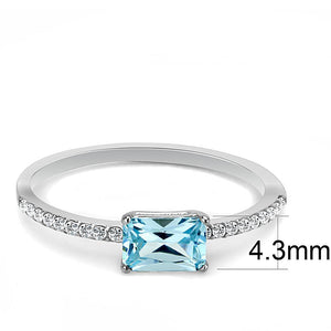 DA011 - High polished (no plating) Stainless Steel Ring with AAA Grade CZ  in Sea Blue