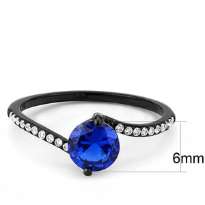 DA012 - IP Black(Ion Plating) Stainless Steel Ring with Synthetic Spinel in London Blue