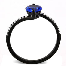Load image into Gallery viewer, DA012 - IP Black(Ion Plating) Stainless Steel Ring with Synthetic Spinel in London Blue