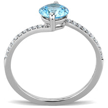 Load image into Gallery viewer, DA014 - High polished (no plating) Stainless Steel Ring with AAA Grade CZ  in Sea Blue