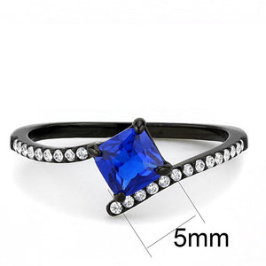 DA016 - IP Black(Ion Plating) Stainless Steel Ring with Synthetic Spinel in London Blue