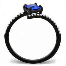 Load image into Gallery viewer, DA016 - IP Black(Ion Plating) Stainless Steel Ring with Synthetic Spinel in London Blue