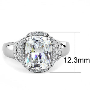 DA024 - High polished (no plating) Stainless Steel Ring with Cubic  in Clear