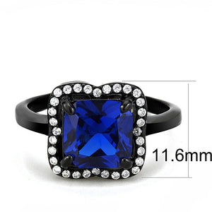DA027 - IP Black(Ion Plating) Stainless Steel Ring with Synthetic Spinel in London Blue