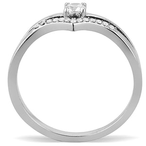 DA030 - High polished (no plating) Stainless Steel Ring with AAA Grade CZ  in Clear