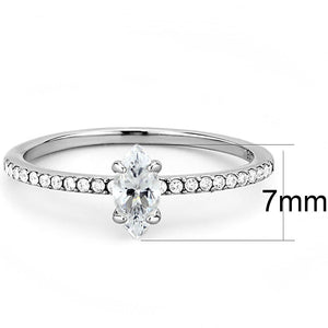 DA031 - High polished (no plating) Stainless Steel Ring with Cubic  in Clear