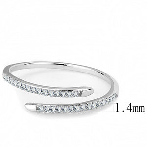 DA044 - High polished (no plating) Stainless Steel Ring with AAA Grade CZ  in Clear
