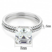 Load image into Gallery viewer, DA065 - High polished (no plating) Stainless Steel Ring with Cubic  in Clear