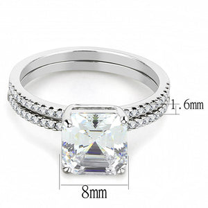 DA065 - High polished (no plating) Stainless Steel Ring with Cubic  in Clear