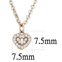 Load image into Gallery viewer, DA086 - IP Rose Gold(Ion Plating) Stainless Steel Chain Pendant with AAA Grade CZ  in Clear