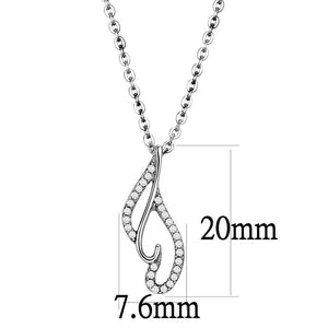 DA089 - High polished (no plating) Stainless Steel Chain Pendant with AAA Grade CZ  in Clear