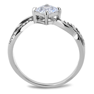 DA101 - High polished (no plating) Stainless Steel Ring with AAA Grade CZ  in Clear