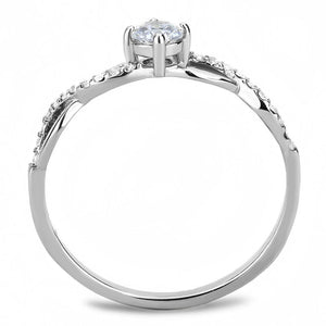 DA104 - High polished (no plating) Stainless Steel Ring with AAA Grade CZ  in Clear