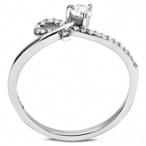 DA142 - High polished (no plating) Stainless Steel Ring with AAA Grade CZ  in Clear