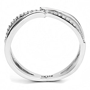 DA155 - High polished (no plating) Stainless Steel Ring with AAA Grade CZ  in Clear