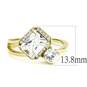 DA173 - IP Gold(Ion Plating) Stainless Steel Ring with AAA Grade CZ  in Clear