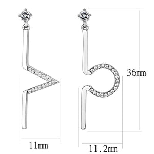 DA191 - High polished (no plating) Stainless Steel Earrings with AAA Grade CZ  in Clear