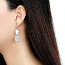 Load image into Gallery viewer, DA193 - High polished (no plating) Stainless Steel Earrings with AAA Grade CZ  in Clear