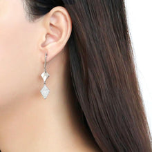 Load image into Gallery viewer, DA194 - High polished (no plating) Stainless Steel Earrings with AAA Grade CZ  in Clear