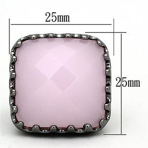 LOA887 Ruthenium Brass Ring with Synthetic in Light Rose