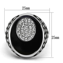 Load image into Gallery viewer, TK1200 High polished (no plating) Stainless Steel Ring with Top Grade Crystal in Clear