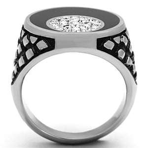 TK1200 High polished (no plating) Stainless Steel Ring with Top Grade Crystal in Clear