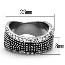 Load image into Gallery viewer, TK1216 High polished (no plating) Stainless Steel Ring with Top Grade Crystal in Clear