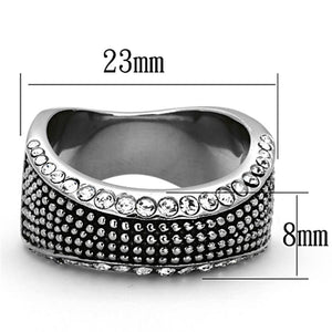 TK1216 High polished (no plating) Stainless Steel Ring with Top Grade Crystal in Clear