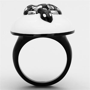 TK1295 Two-Tone IP Black Stainless Steel Ring with Epoxy in White