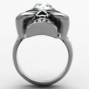 TK1313 High polished (no plating) Stainless Steel Ring with Top Grade Crystal in Clear
